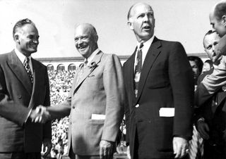 Barry_Goldwater_President_Dwight_Eisenhower_Governor_Howard_Pyle_Montgomery_Stadium_October_10_1952