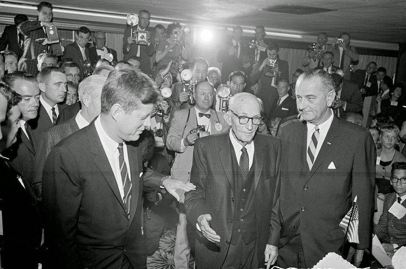 President_John_F_Kennedy_Senator_Carl_Hayden_Vice-President_Lyndon_Johnson_Westward_Ho_1961