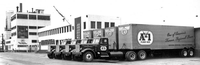 A-1_Beer_building_and_trucks_150_12th_St_1950s