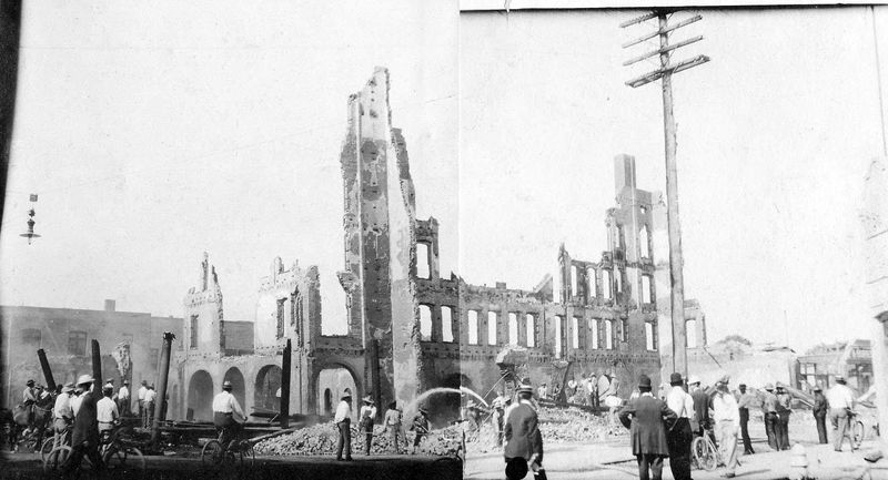 Adams_Hotel_after_fire_northeast_corner_Central_Adams_1910