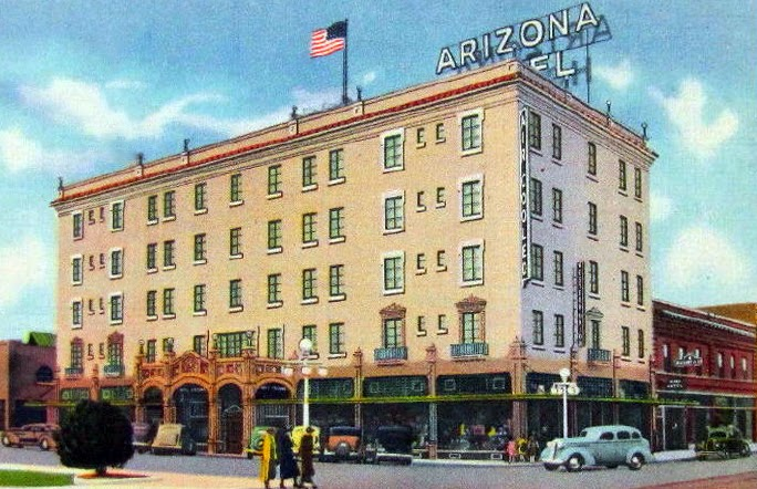 Arizona_Hotel_SW_corner_Washington_3rd_Ave_color_1940s