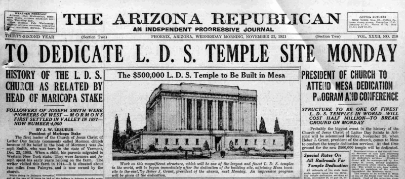 Article_site_dedication_Mormon_Temple_LDS_101_S_LeSueur_Mesa_1921