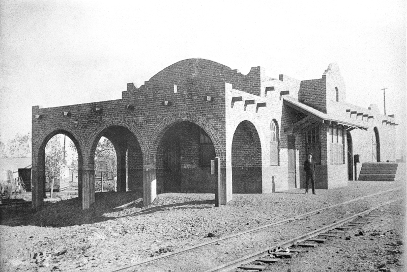 8-Gilbert Depot built in 1905 and torn down by Southern Pacific in  1965 1st Stationmaster Frederick M. Cannon is in photo