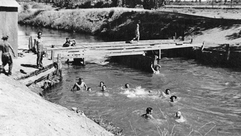 Civilian_Conservation_Corps_Pueblo_Grande_swimming_Grand_Canal_1937