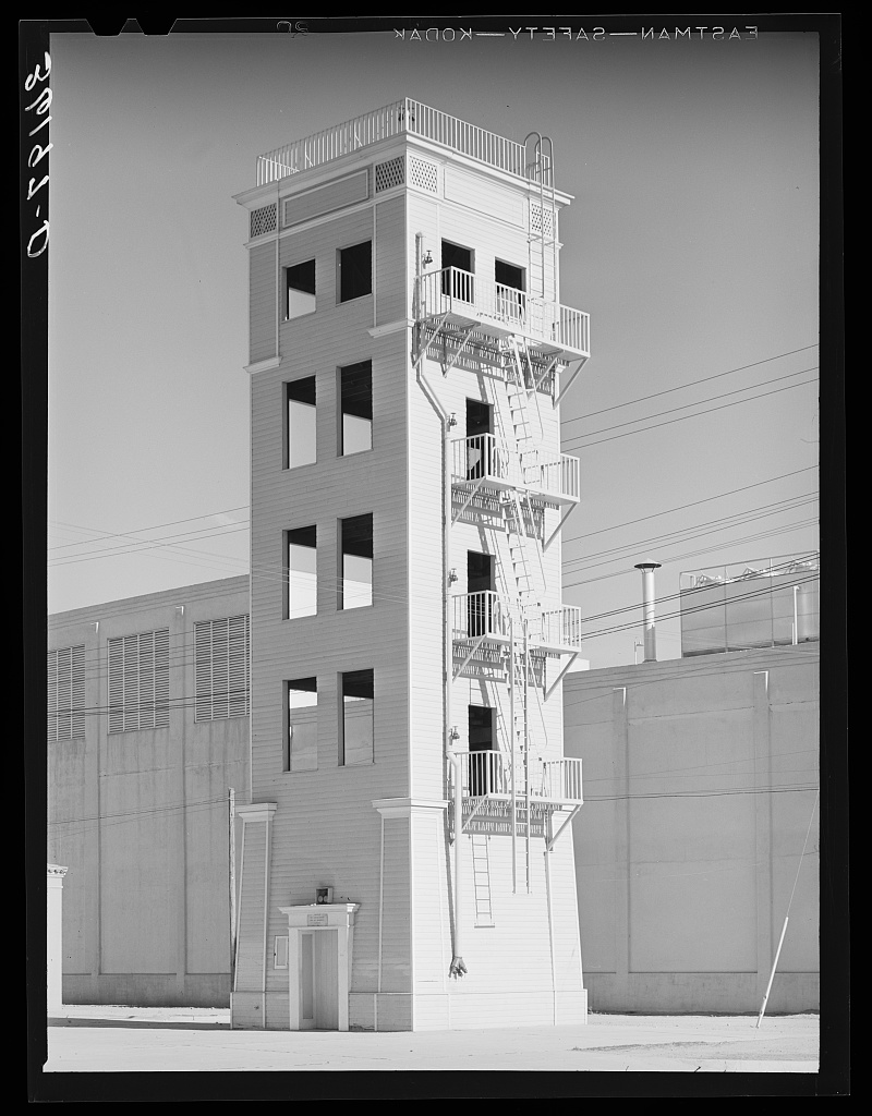 Tower where firemen practice 1940