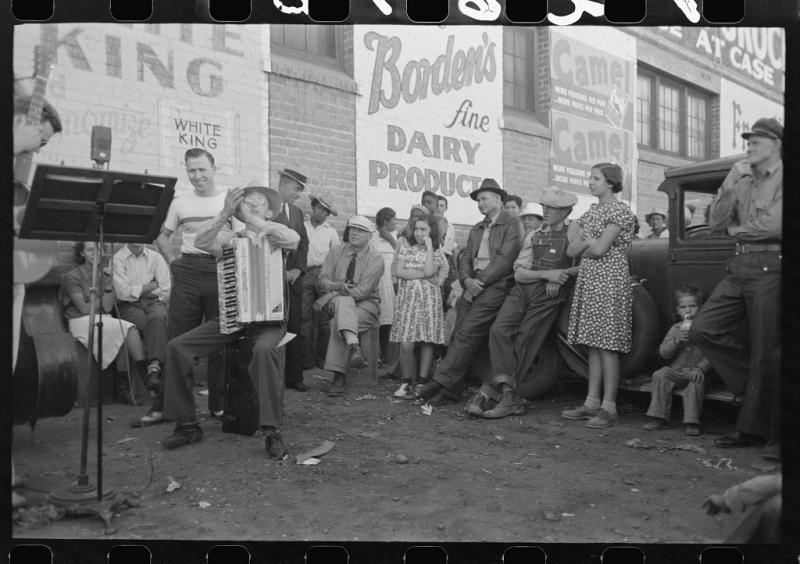 Band outside a store 1940