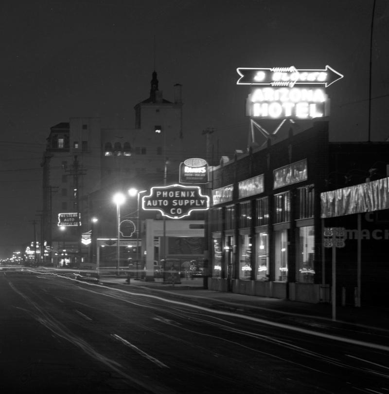 Phoenix_Auto_Supply_night_Van_Buren_3rd_Ave_looking_east_1940s(1)