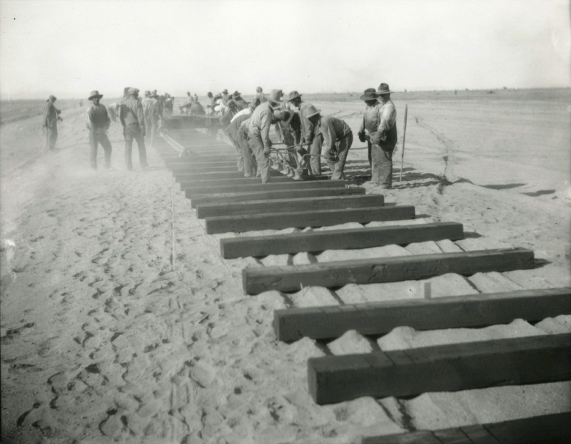 Laying tracks near Phoenix 1928