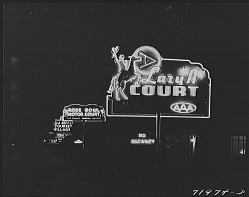 Neon tourist courts 1940