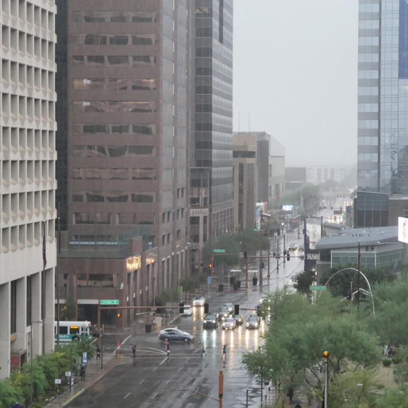 Beautiful rain downtown
